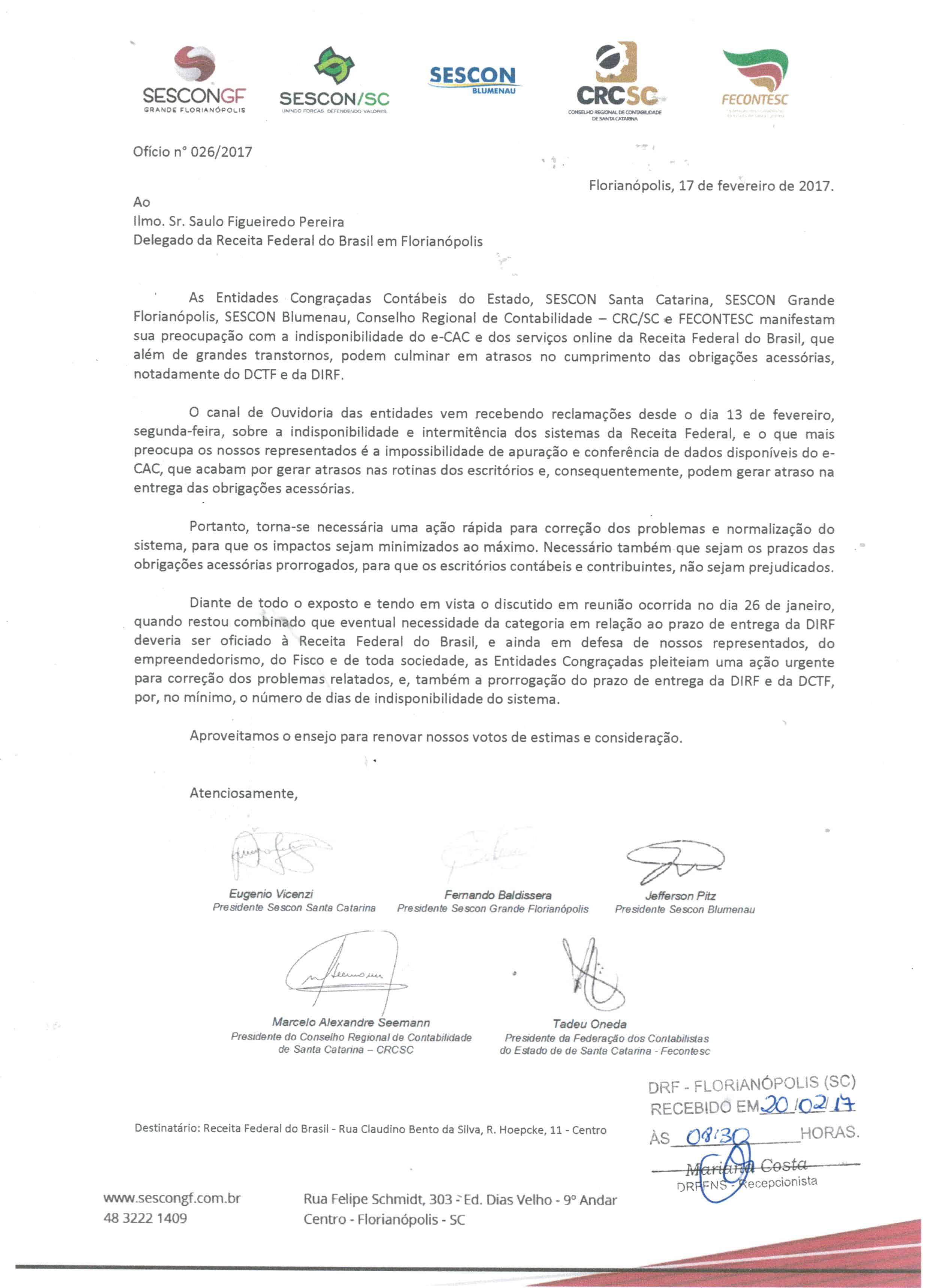 Oficio 026 RBF com protocolo